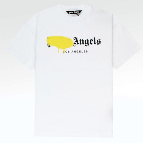 Palm Angels Los Angeles Sprayed White Yellow T Shirt