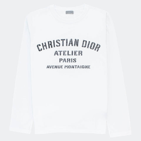 Dior Atelier Avenue Montaigne White Long Sleeve T Shirt