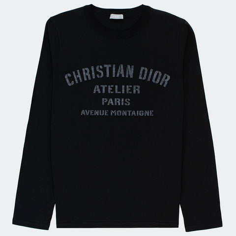 Dior Atelier Avenue Montaigne Black Long Sleeve T Shirt