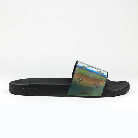 Louis Vuitton Iridescent Prism Monogram Black Waterfront Mule Slides