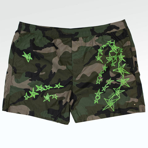 Valentino Green Camouflage Star Swim Shorts