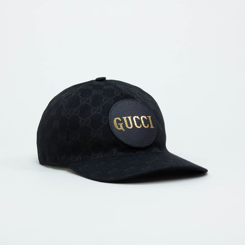 Gucci GG Canvas Black Logo Plaque Baseball Cap