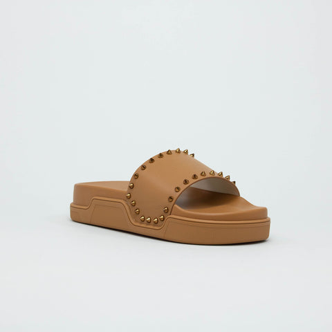 Christian Louboutin Pool Stud Light Brown Slides