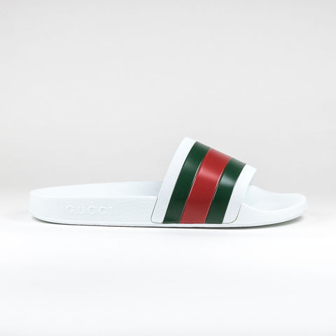 359000b6c46 Gucci Web Pursuit Pool Slides White Red Green – Crepslocker