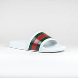 Gucci Web Pursuit Pool Slides White/Red/Green