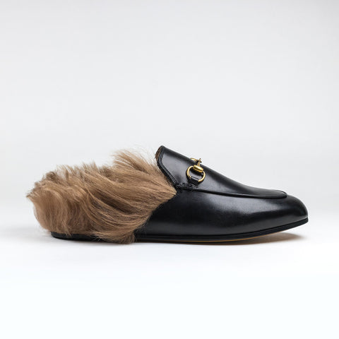Princetown Fur Lined Leather Slippers