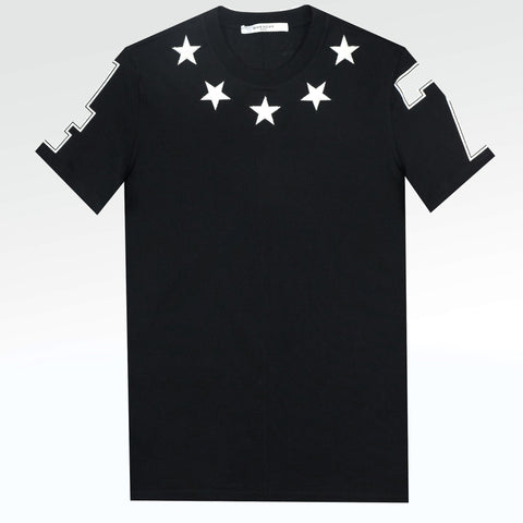 Givenchy Paris 74 Star Applique T Shirt Black White