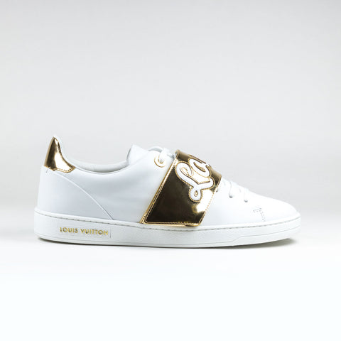 e5af531a30ae Louis Vuitton White Gold Frontrow Sneaker – Crepslocker