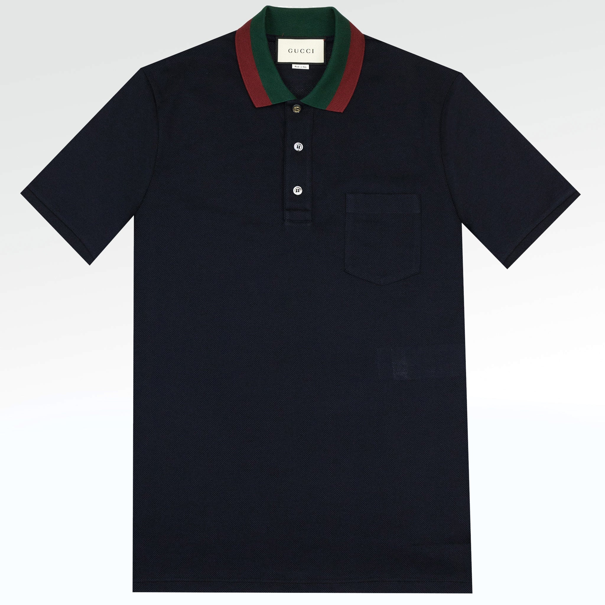 161031a0a5691 Gucci Web Collar Polo Shirt Navy – Crepslocker