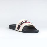 Gucci Band Logo Pool Slides Cream/Black/Red