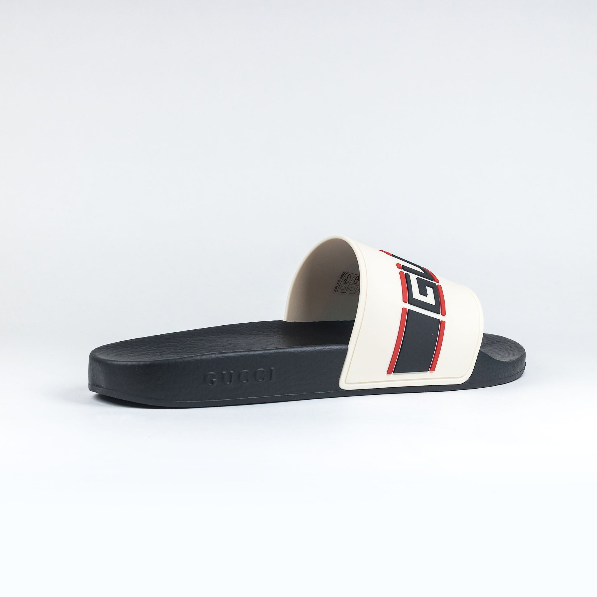 Gucci Band Logo Pool Slides Cream Black Red – Crepslocker 705074bd47e8