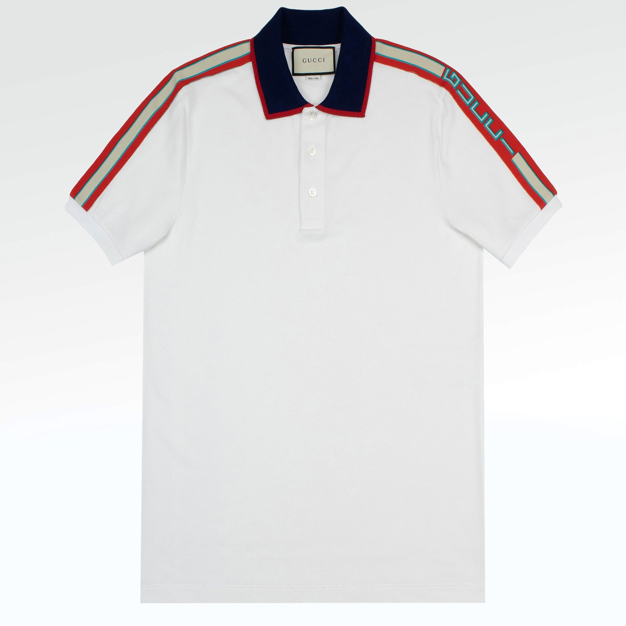 75013b0615da Gucci Logo Ribbon Polo Shirt White – Crepslocker