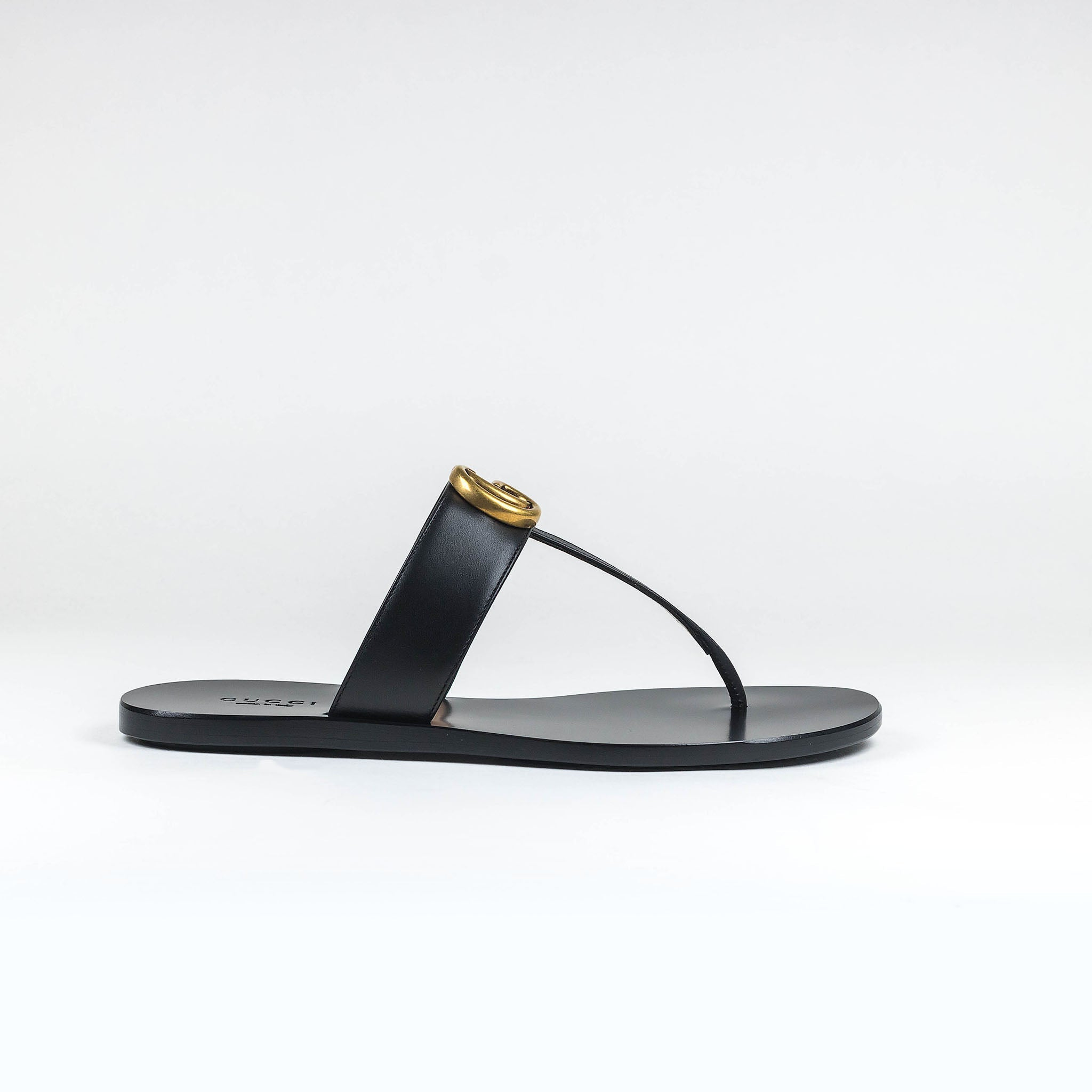 1930b568b447 Gucci GG Leather Black Thong Sandals – Crepslocker