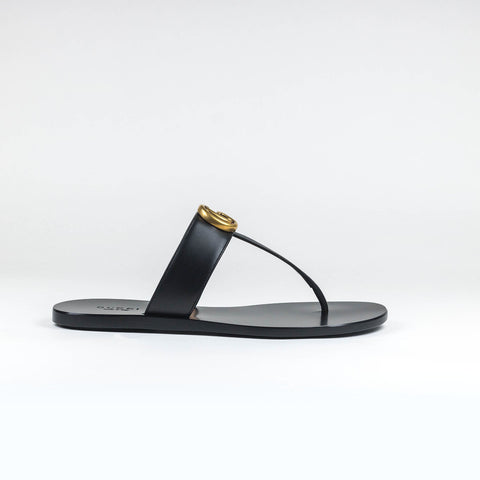 36779d9136af Gucci GG Leather Black Thong Sandals – Crepslocker