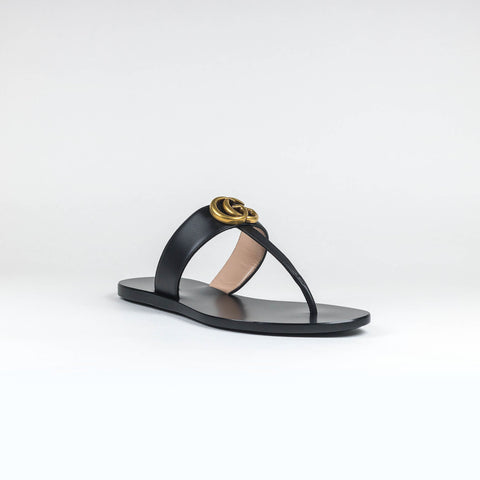 Gucci GG Leather Black Thong Sandals
