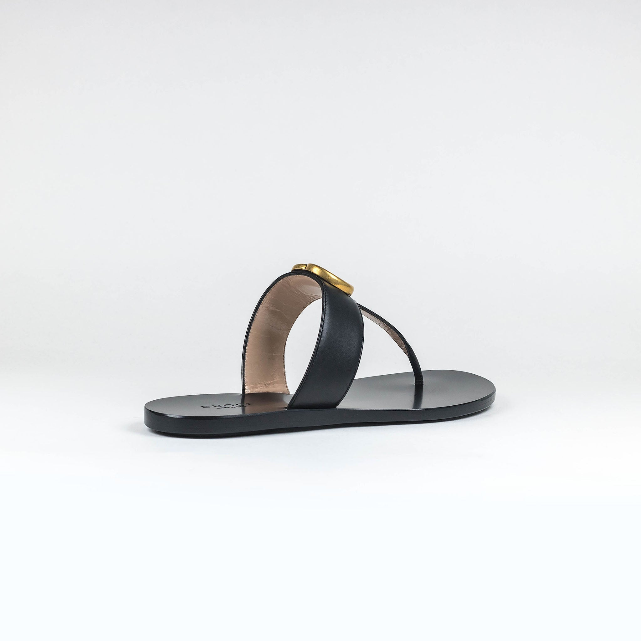 a95596095 Gucci GG Leather Black Thong Sandals – Crepslocker