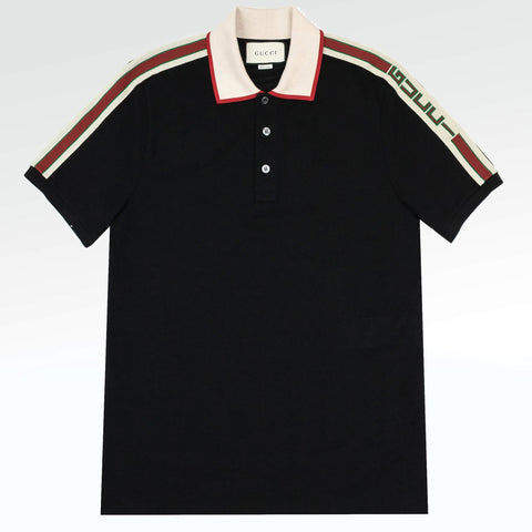 Gucci Logo Ribbon Polo Shirt Black