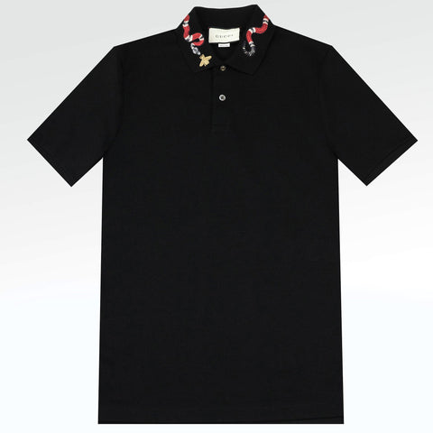 Gucci Snake Embroidered Polo Shirt Black