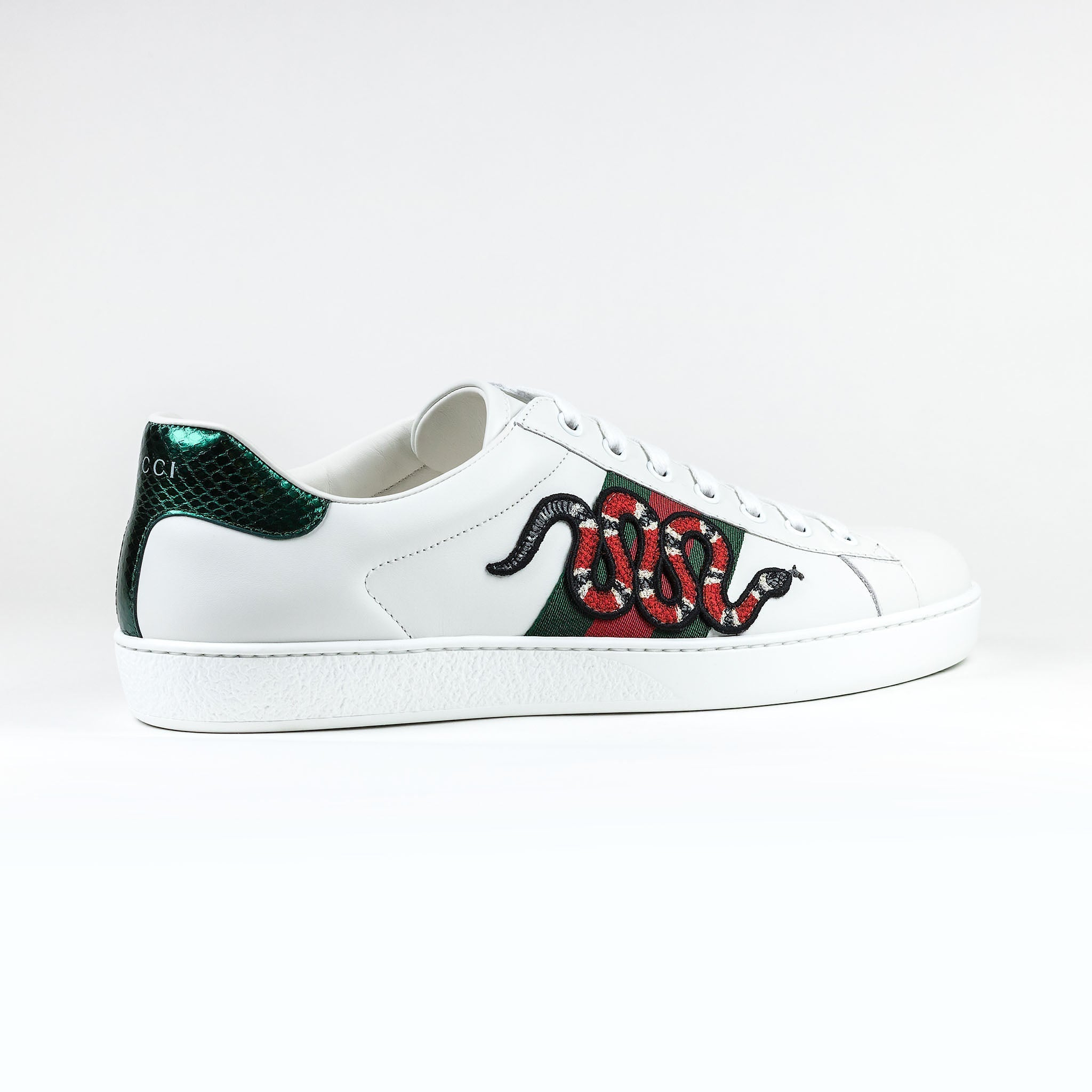 8db32e43a1c Gucci Ace Snake Embroidered White Sneaker – Crepslocker