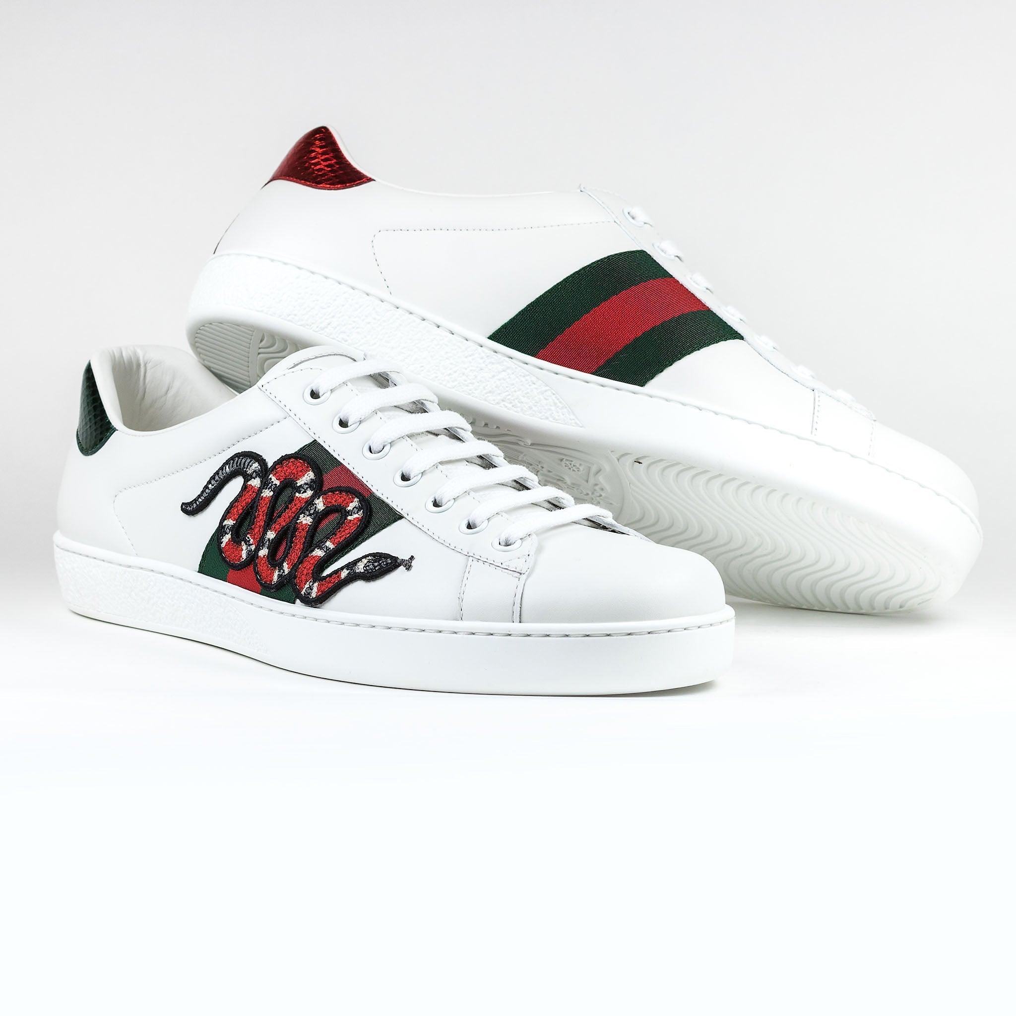 Gucci Ace Snake Embroidered White