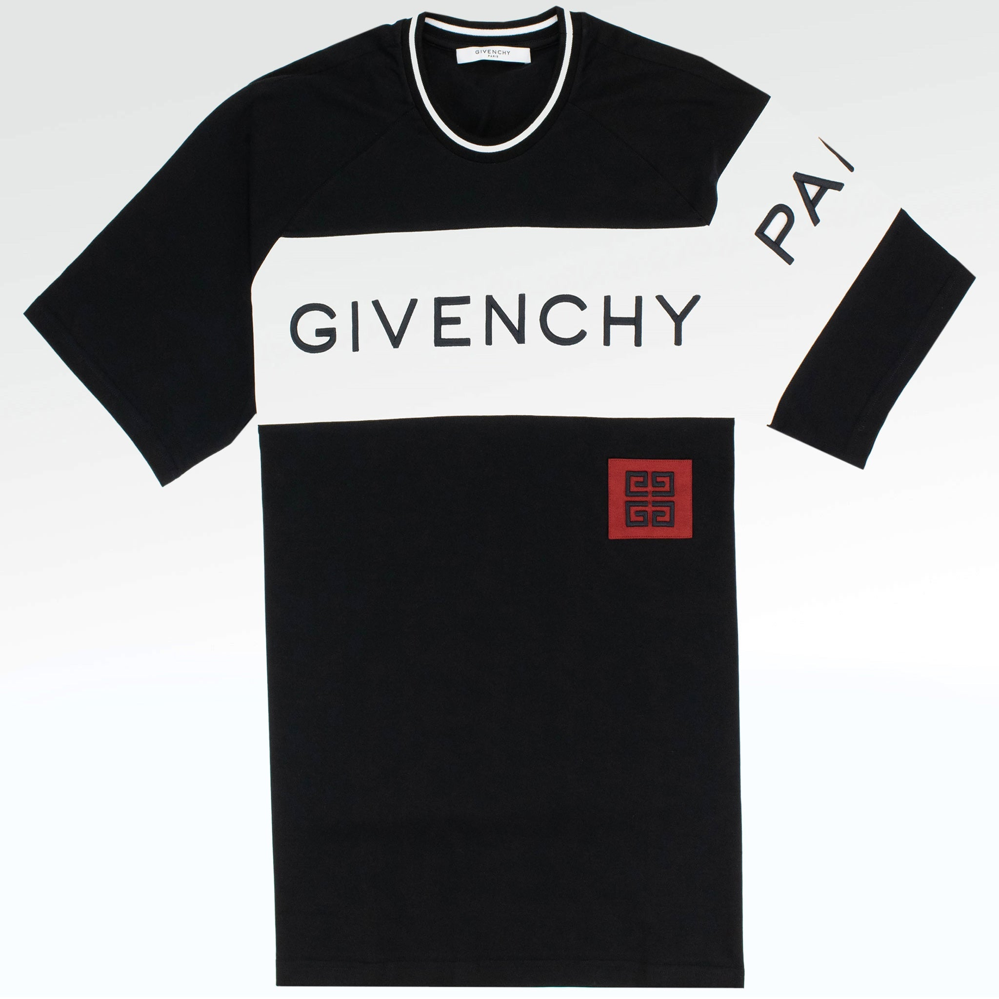 5461014f921a Givenchy Paris Embroidered Oversized Logo T Shirt Black White ...