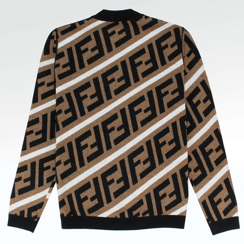 Fendi FF Stripe Knit Jumper Brown/White