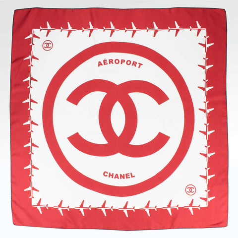Chanel CC Square Silk Scarf White Red