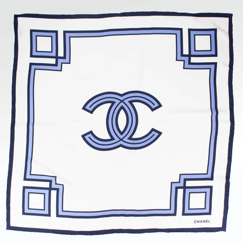 Chanel CC Square Silk Scarf White Blue