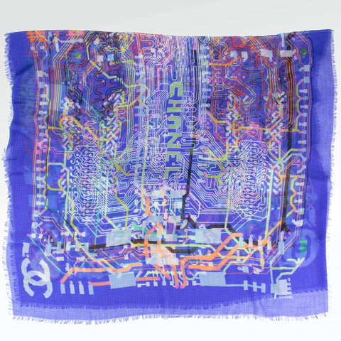 Chanel CC Paint Silk Scarf Blue