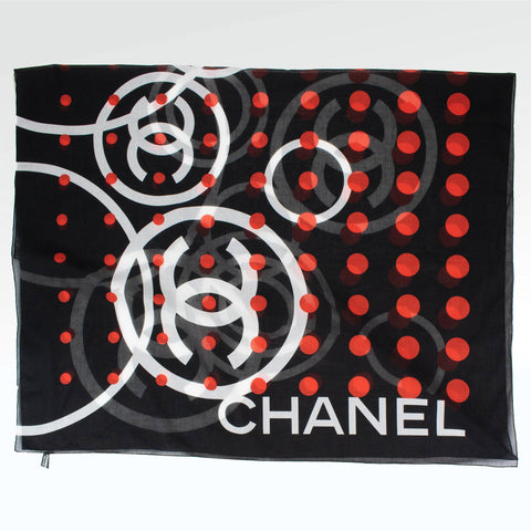 Chanel CC Silk Dot Scarf Black Red