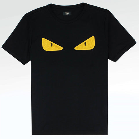 Fendi Monster Eyes Studded Logo T Shirt Black Yellow