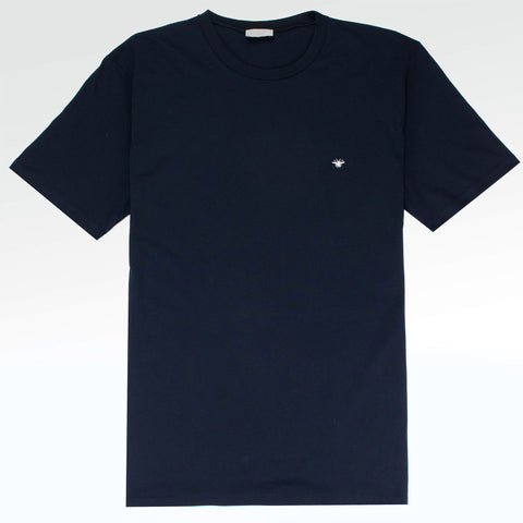 Christian Dior White Bee Embroidery Navy T Shirt