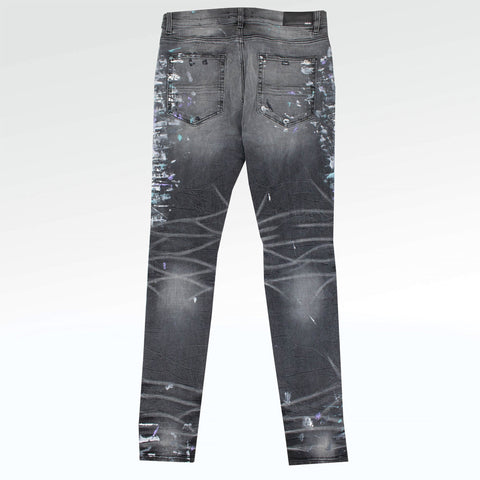 Amiri MX1 Grey Paint Splatter Jeans