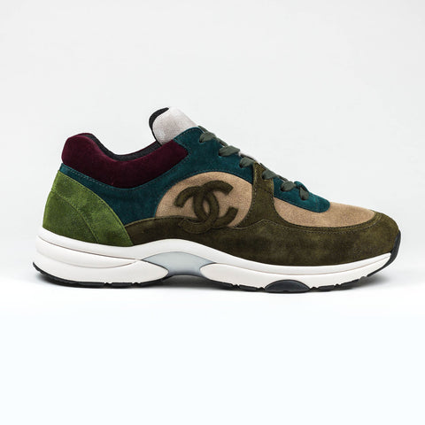 Chanel CC Logo Suede Brown Maroon Green  Sneaker