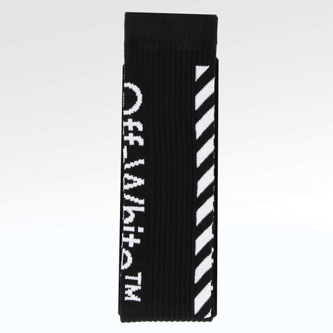 Off White Diagonal Stripe Socks Black