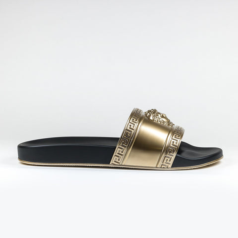 more photos 7f74e 57b08 Versace Medusa Slides Black Gold