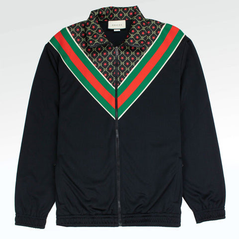 Gucci GG Supreme Panelled Jersey Jacket Black