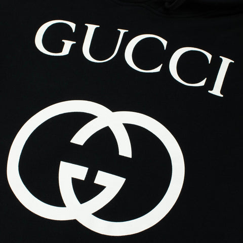 Gucci GG Logo Hooded Sweatshirt Black
