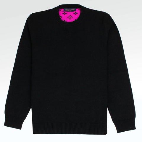 Louis Vuitton Half and Half Monogram Crewneck Black Pink Sweater