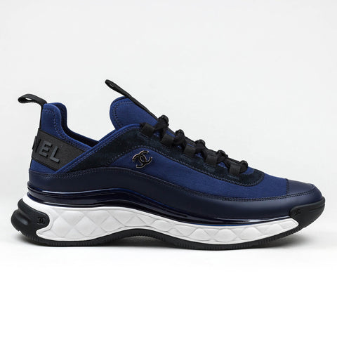 Chanel CC Velvet Calfskin Mixed Fibers Electric Blue Chunky Sneaker