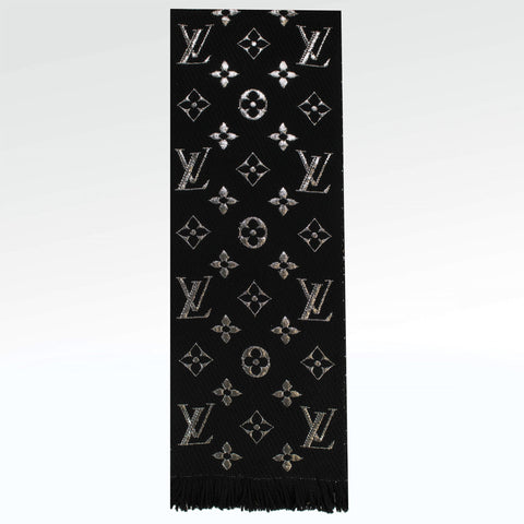 Louis Vuitton Monogram Logomania Shine Black Silver Scarf