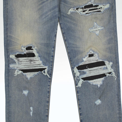 Amiri MX1 Blue Distressed Leather Patch Jeans