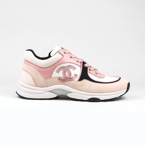 Chanel CC Logo Pink Black Suede Sneaker