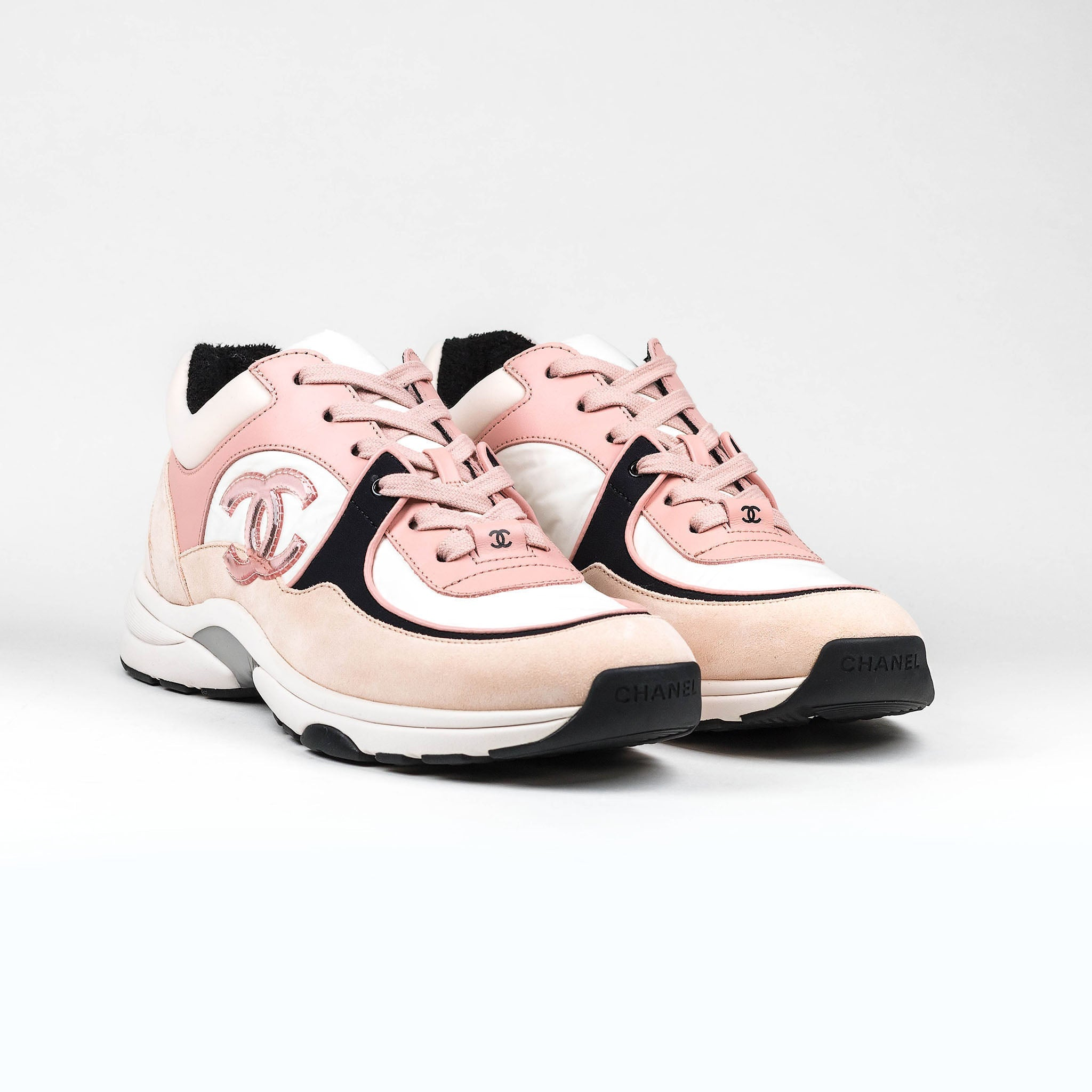 chanel tennis shoes pink