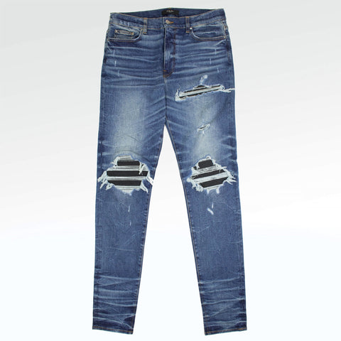 Amiri MX1 Indigo Leather Patch Jeans