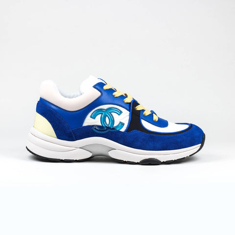 Chanel CC Logo Blue White Yellow Suede Sneaker