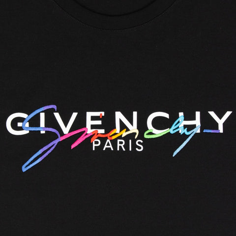 Givenchy Paris Rainbow Logo Black T Shirt
