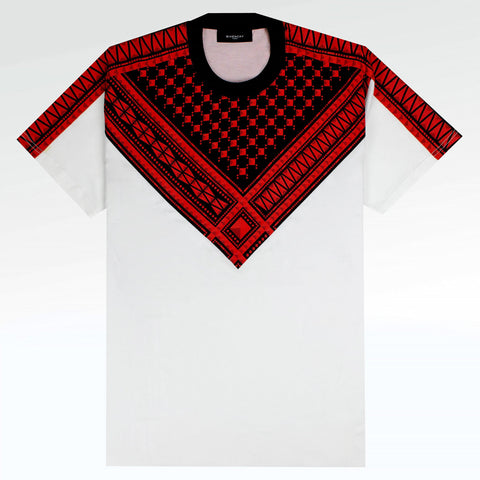 Givenchy Paris Keffiyeh Print White T Shirt