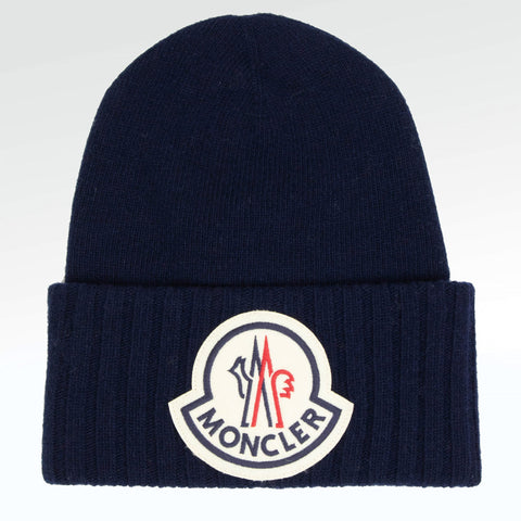 Moncler Large Logo Oversized Wool Beanie Navy