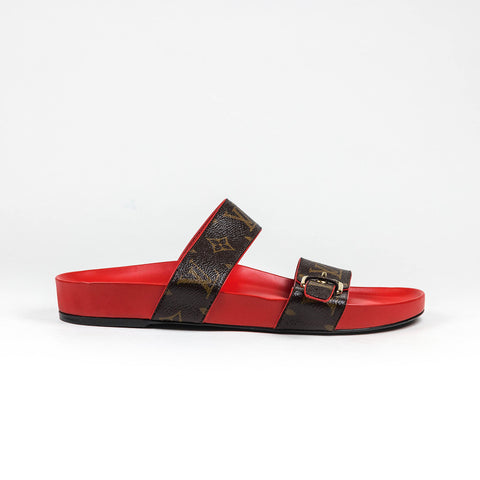 Louis Vuitton Bom Dia Flat  Monogram Brown Red Mule Sandal